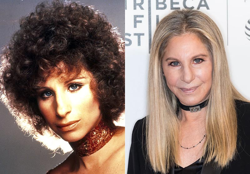 Young Barbra has a brunette afro and older Barbra has straight, blonde hair.