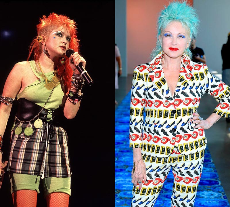 Cyndi Lauper has red hair in youth and electric blue hair while on a runway recently.