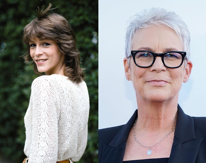 A young Jamie Lee Curtis turns to the camera and an older Curtis smiles with white hair.