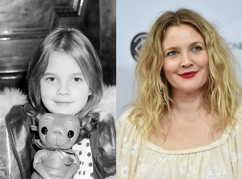 Young Drew Barrymoore on the set of E.T. is beside a recent photo of her.