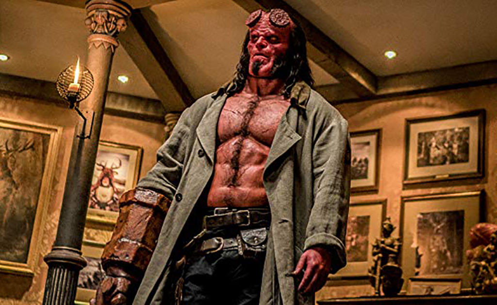Hellboy standing in a room