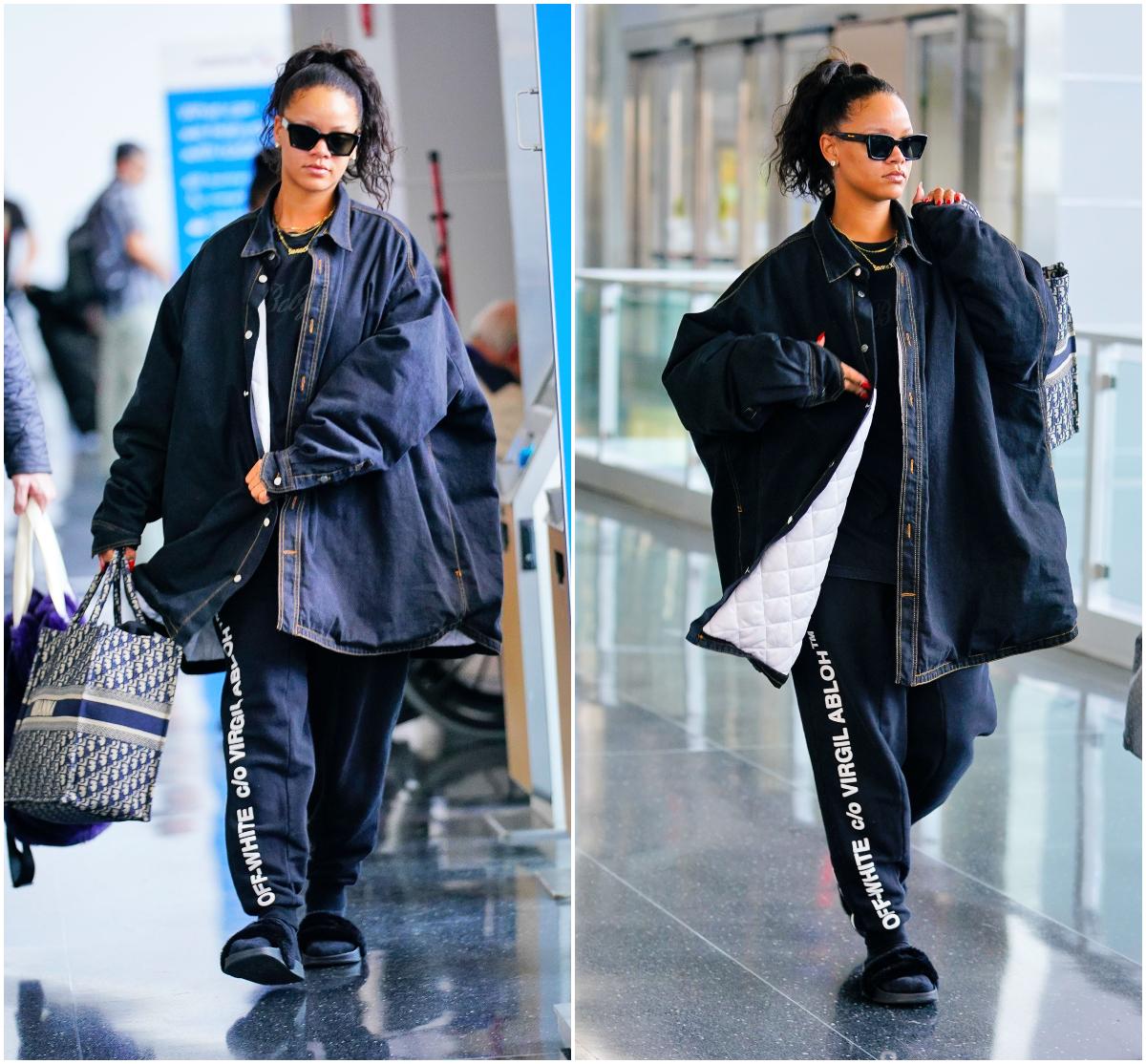 Rihanna airport fashion