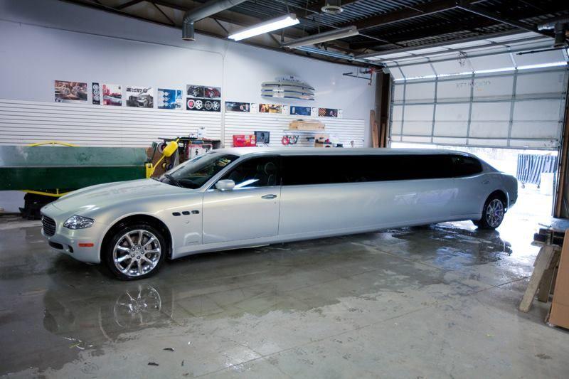 a maserati turned into a limo
