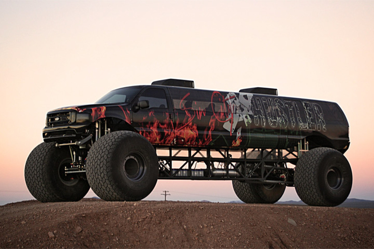 a monster truck turned into a limo