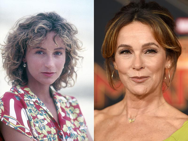 Young Jennifer Grey is photographed on the shore and and older Jennifer is photographed at an event.