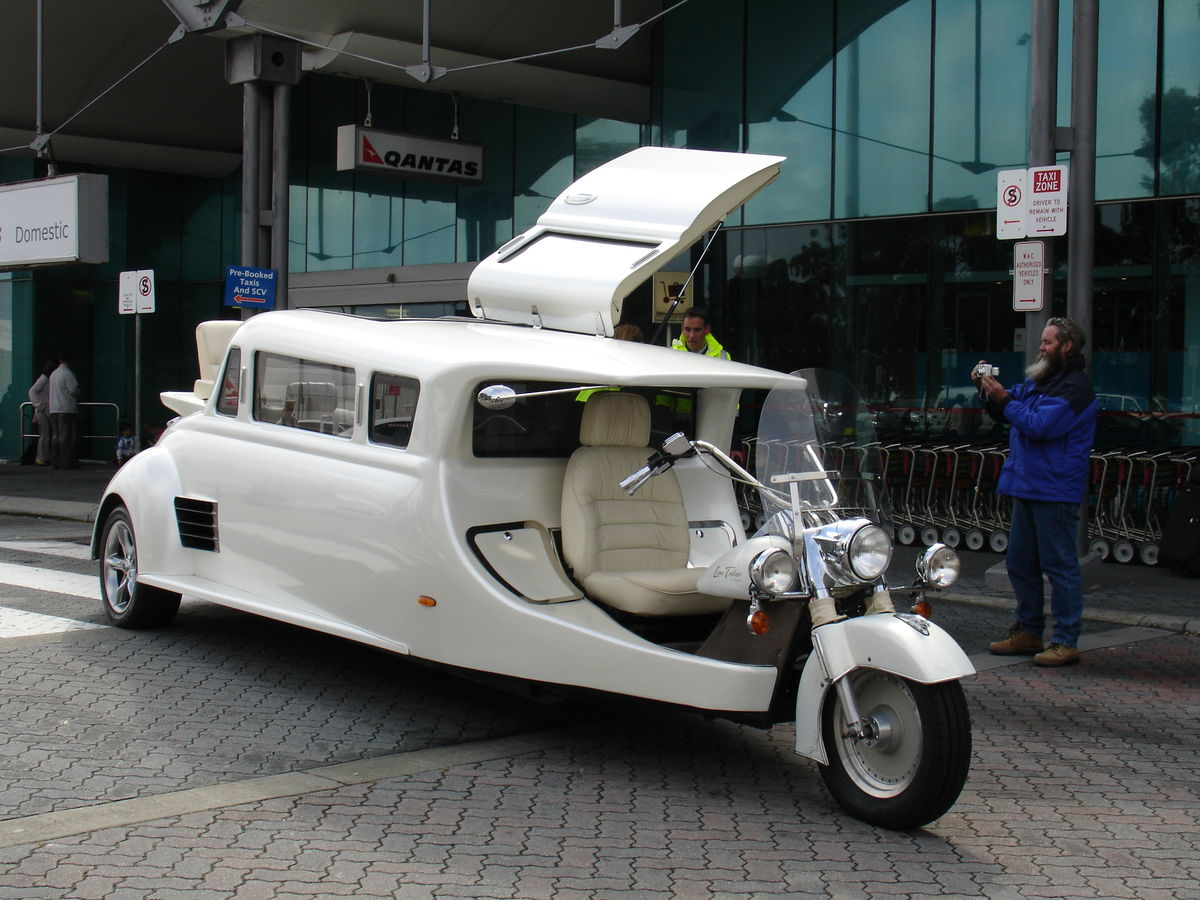 a harley davidson turned into a limo