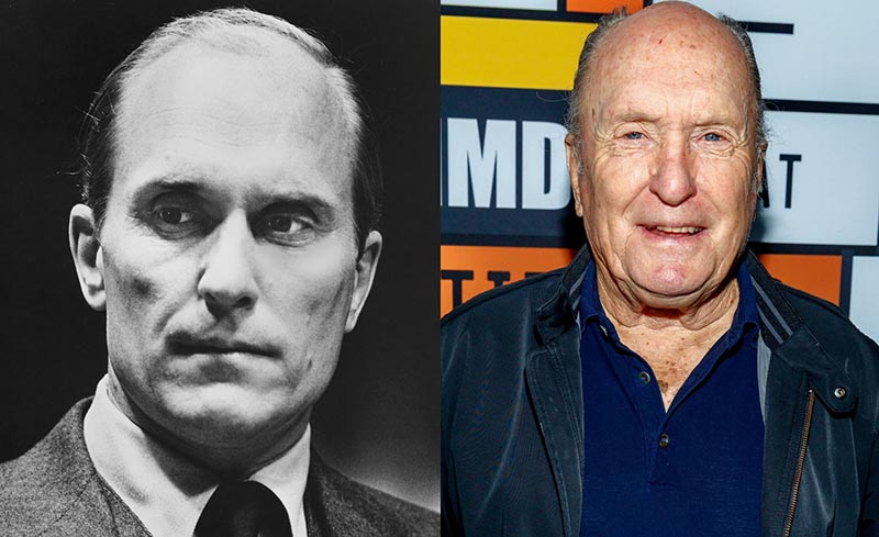 Elderly Robert Duvall is pictured beside a photo of his younger self.