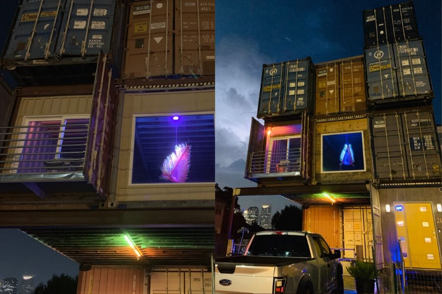shipping container home at night
