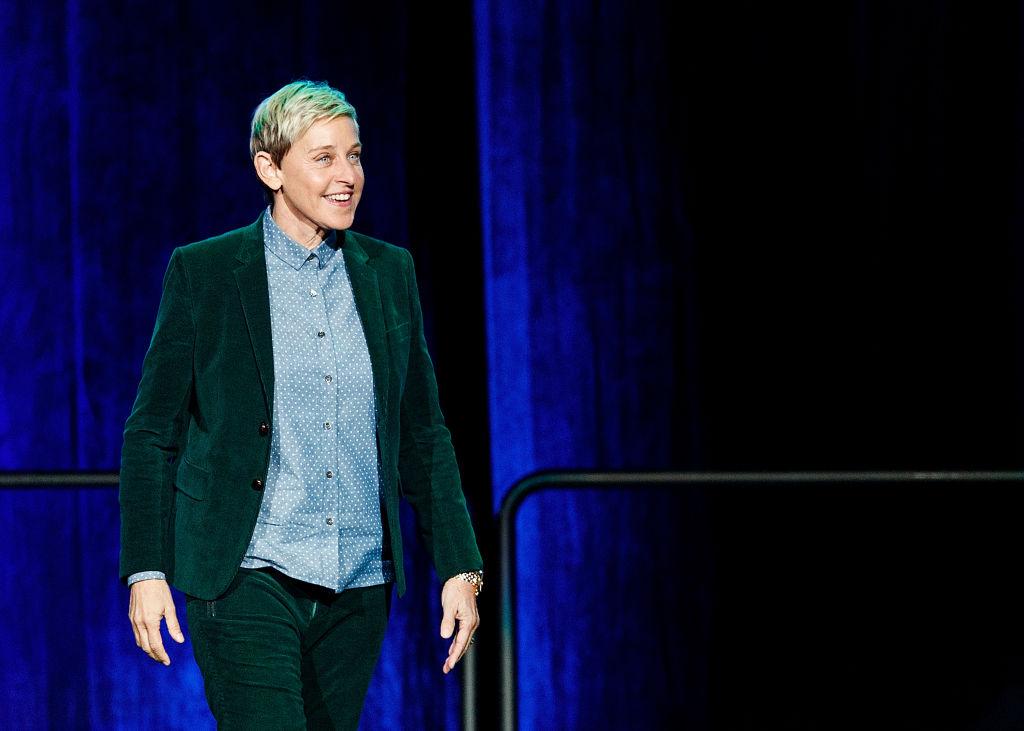 Comedian Ellen DeGeneres seen onstage during