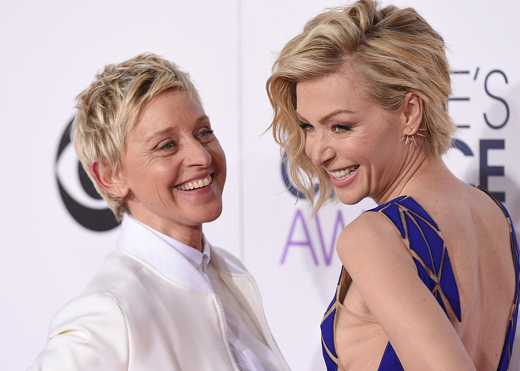 Ellen DeGeneres and actress Portia de Rossi arrive at The 41st Annual People's Choice Awards
