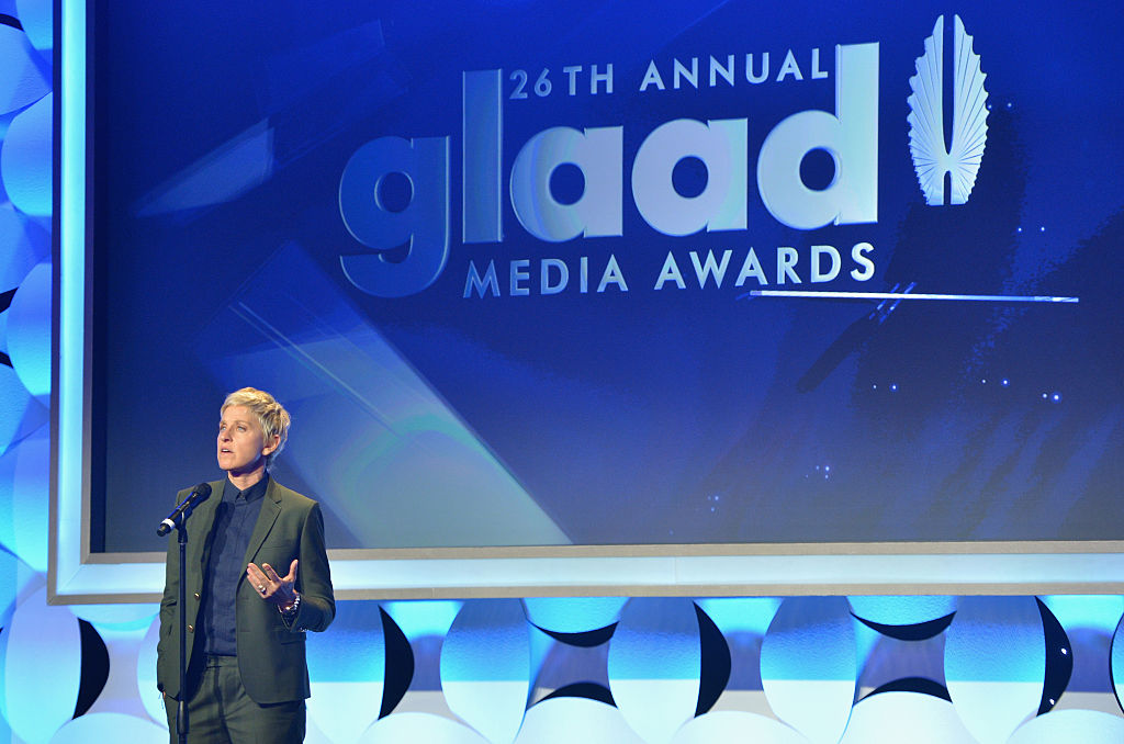 TV personality Ellen DeGeneres speaks onstage during the 26th Annual GLAAD Media Awards at The Beverly Hilton Hotel