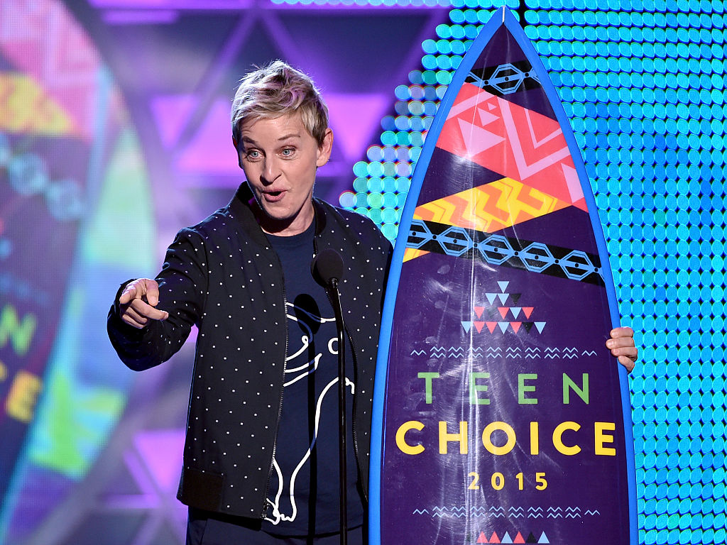 Ellen DeGeneres accepts the Choice Comedian Award onstage during the Teen Choice Awards 2015