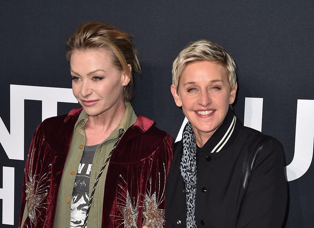 Portia de Rossi and Ellen DeGeneres arrives at SAINT LAURENT At The Palladium at Hollywood