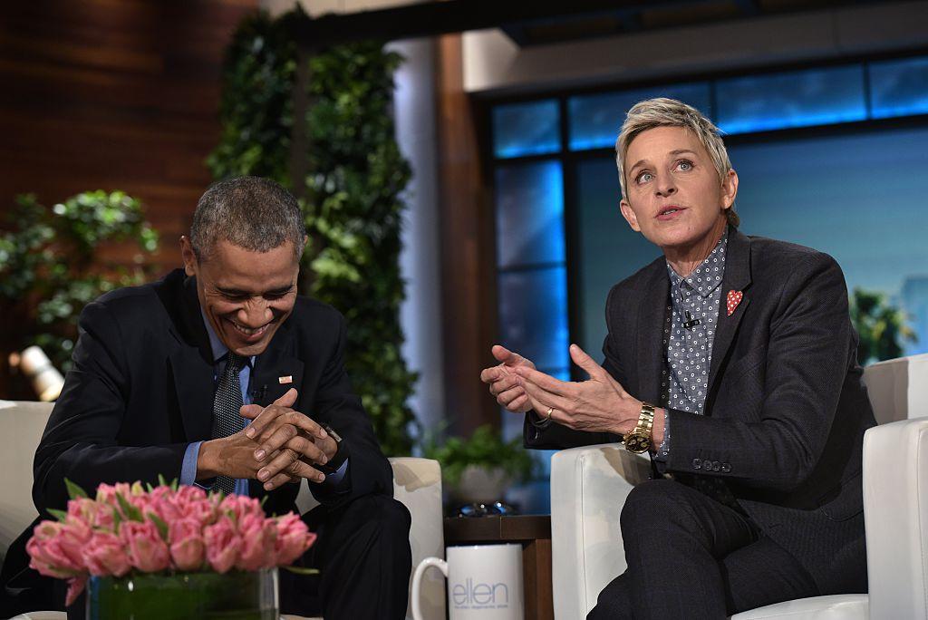 US President Barack Obama and talk show host Ellen DeGeneres are seen during a break in the taping of The Ellen DeGeneres show