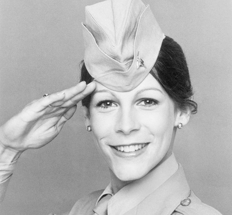 Jamie Lee Curtis poses in her military attire as Lt. Duran.