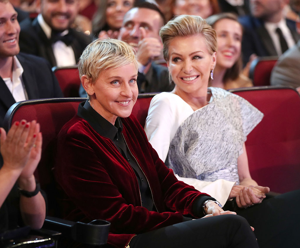 TV personality Ellen DeGeneres (L) and actress Portia de Rossi attend the People's Choice Awards 2017 at Microsoft Theater