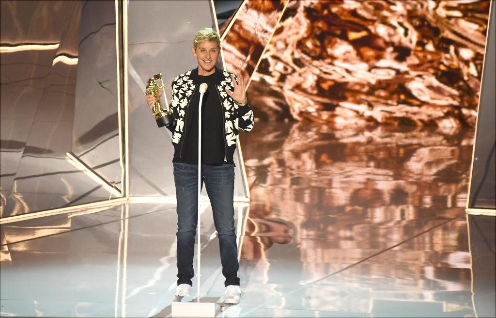 Ellen DeGeneres speaks onstage during the 2017 MTV Video Music Awards