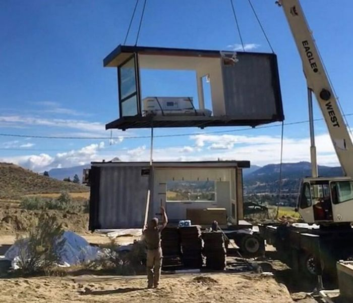 shipping container home being built in gulch