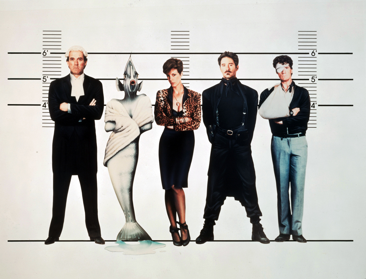 A promotional shot shows main cast members of the film.