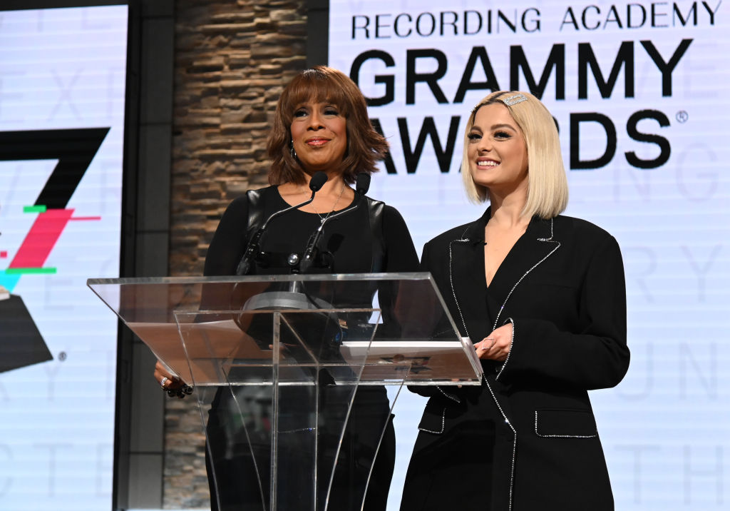 gayle king and bebe rexha announcing the grammy nominees