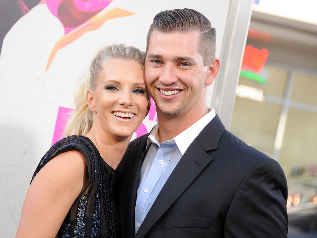 heather morris and husband taylor hubbell at a movie premiere