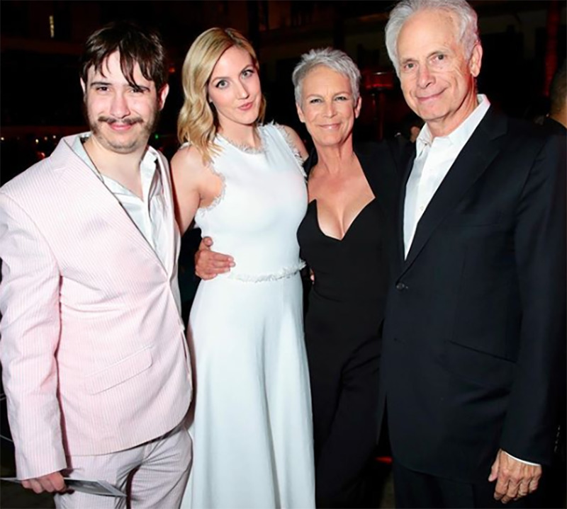 Jamie Lee Curtis poses with her immediate family.