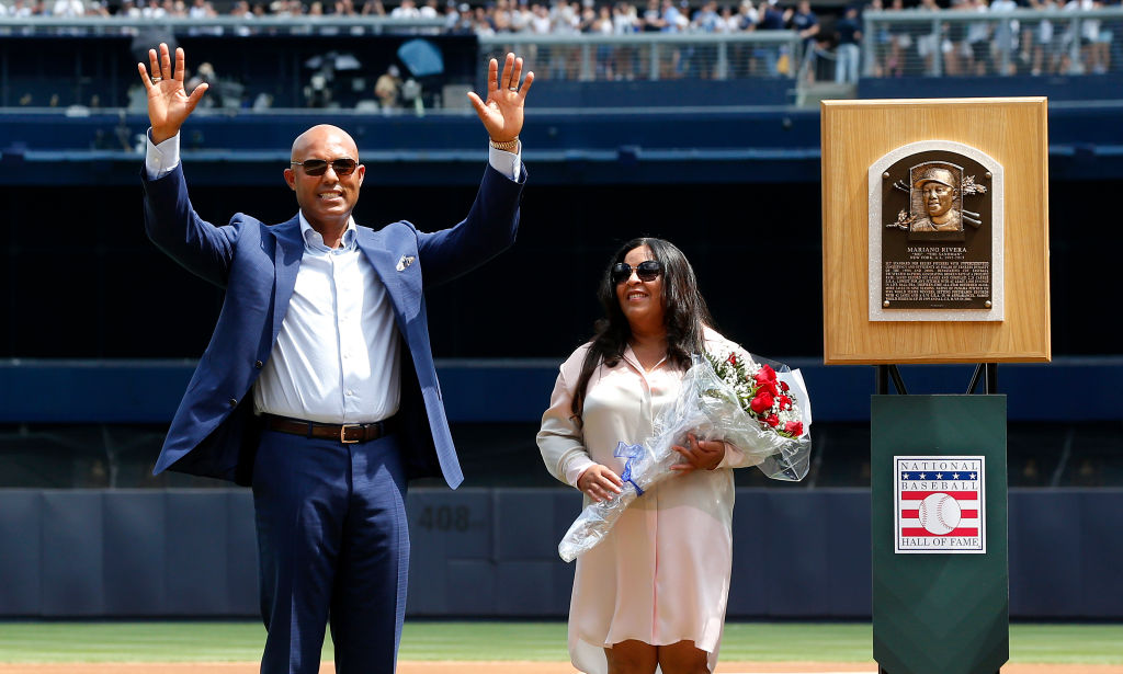 mariano rivera and his wife clara at his hall of fame ceremony