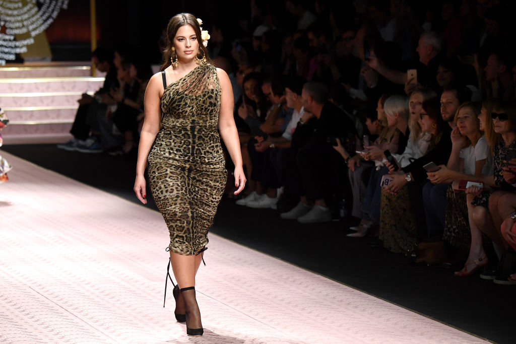Ashley Graham walks the runway at the Dolce & Gabbana show