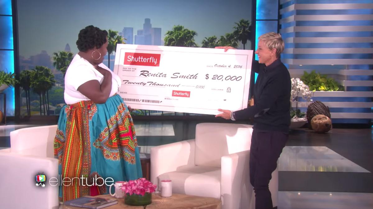 ellen giving renita smith 20,000 on live television