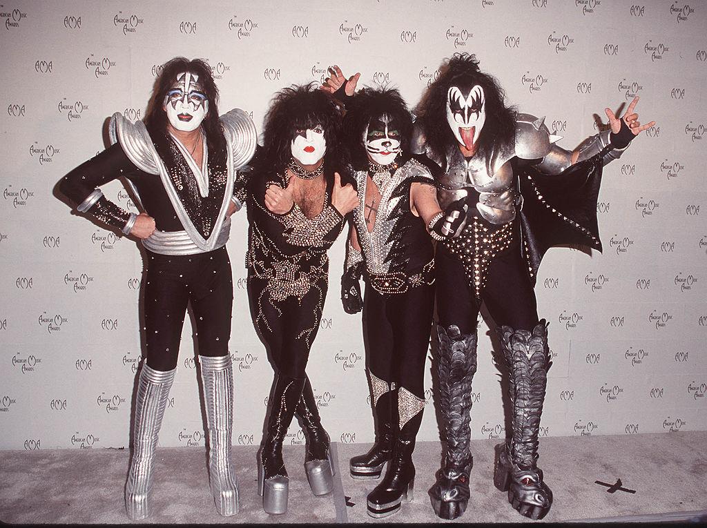 Rockband KISS poses in full makeup.