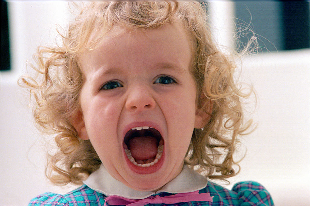 A toddler girl opens her mouth to scream.