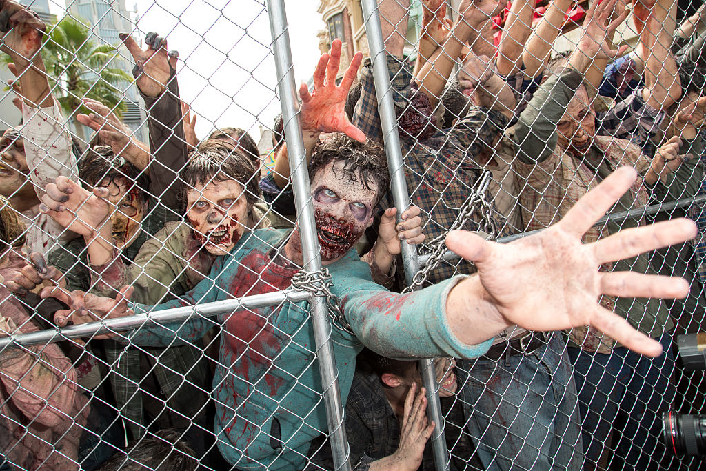 Zombies attempt to push through a gate.