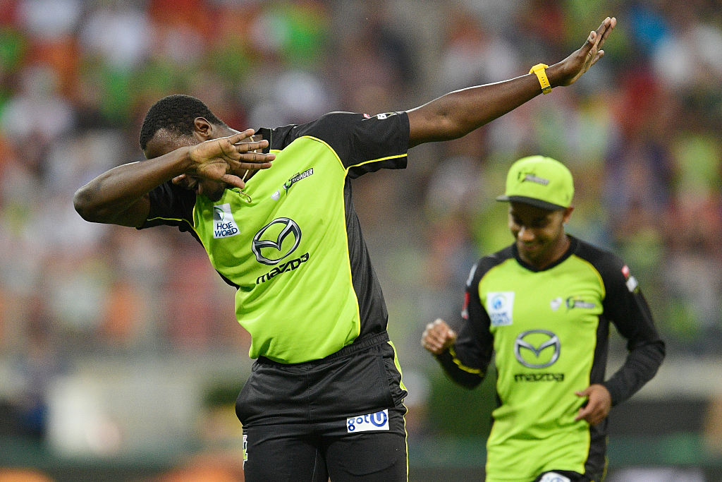 An athlete does a dab during a game.