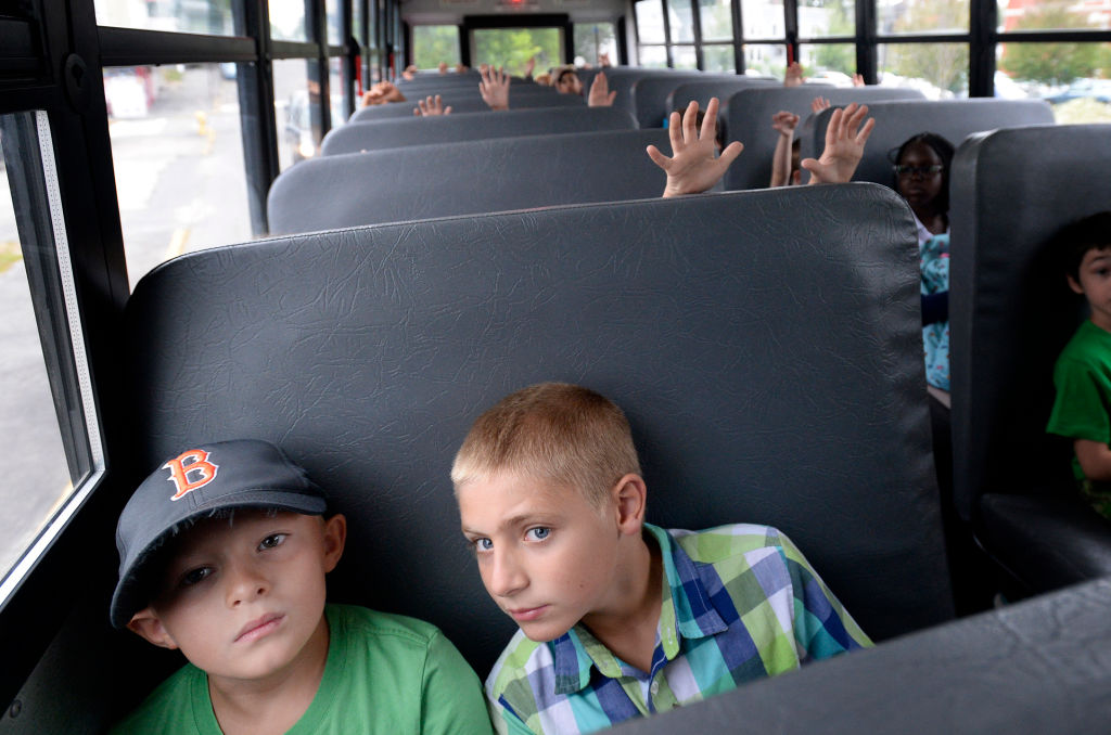 students in a school bus