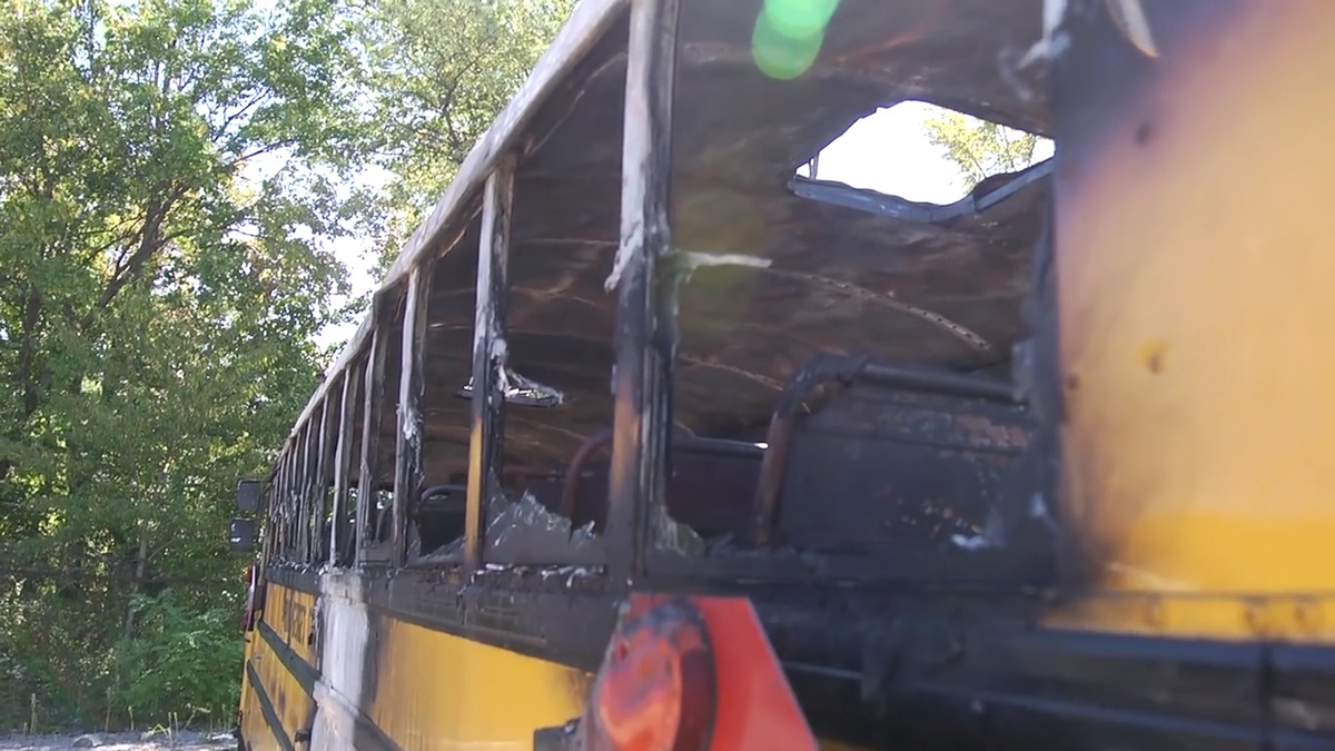 school bus after the flames settled