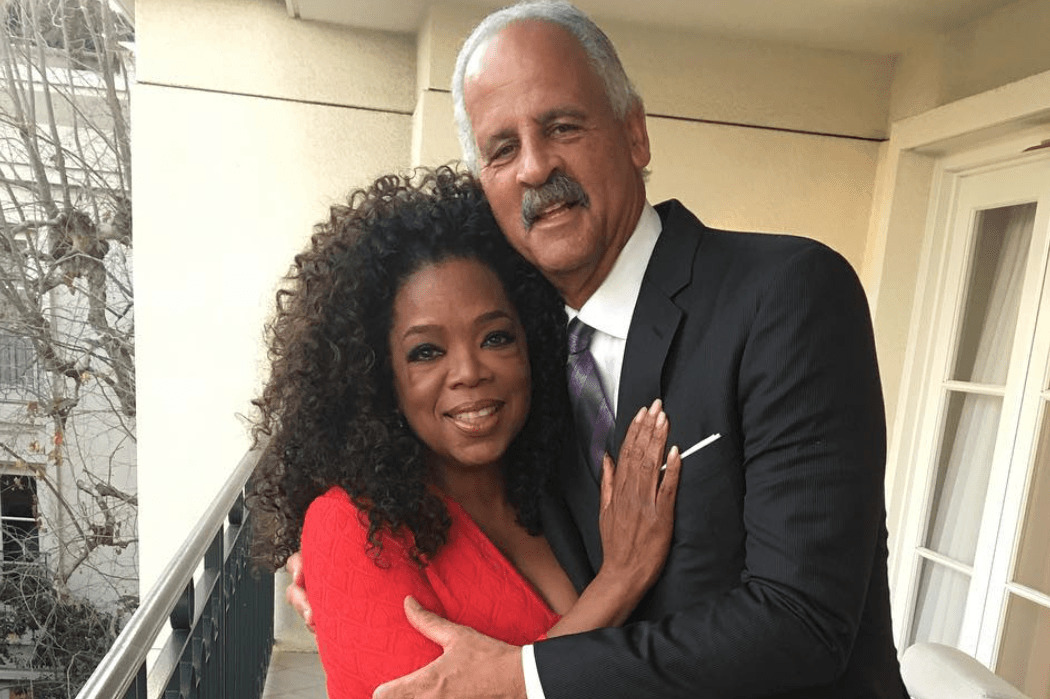 Oprah poses with her partner, Stedman Graham.