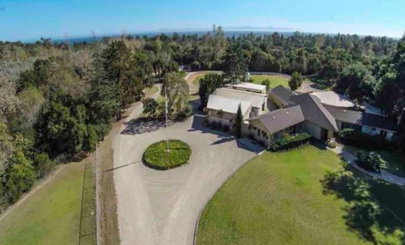An aerial view shows Oprah's home in Montecito.