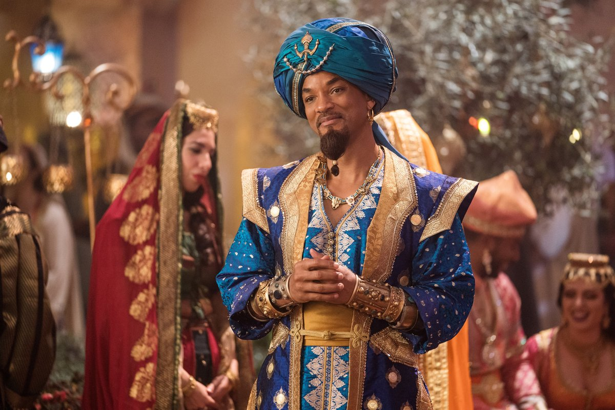 Will Smith acts as the genie in Aladdin.