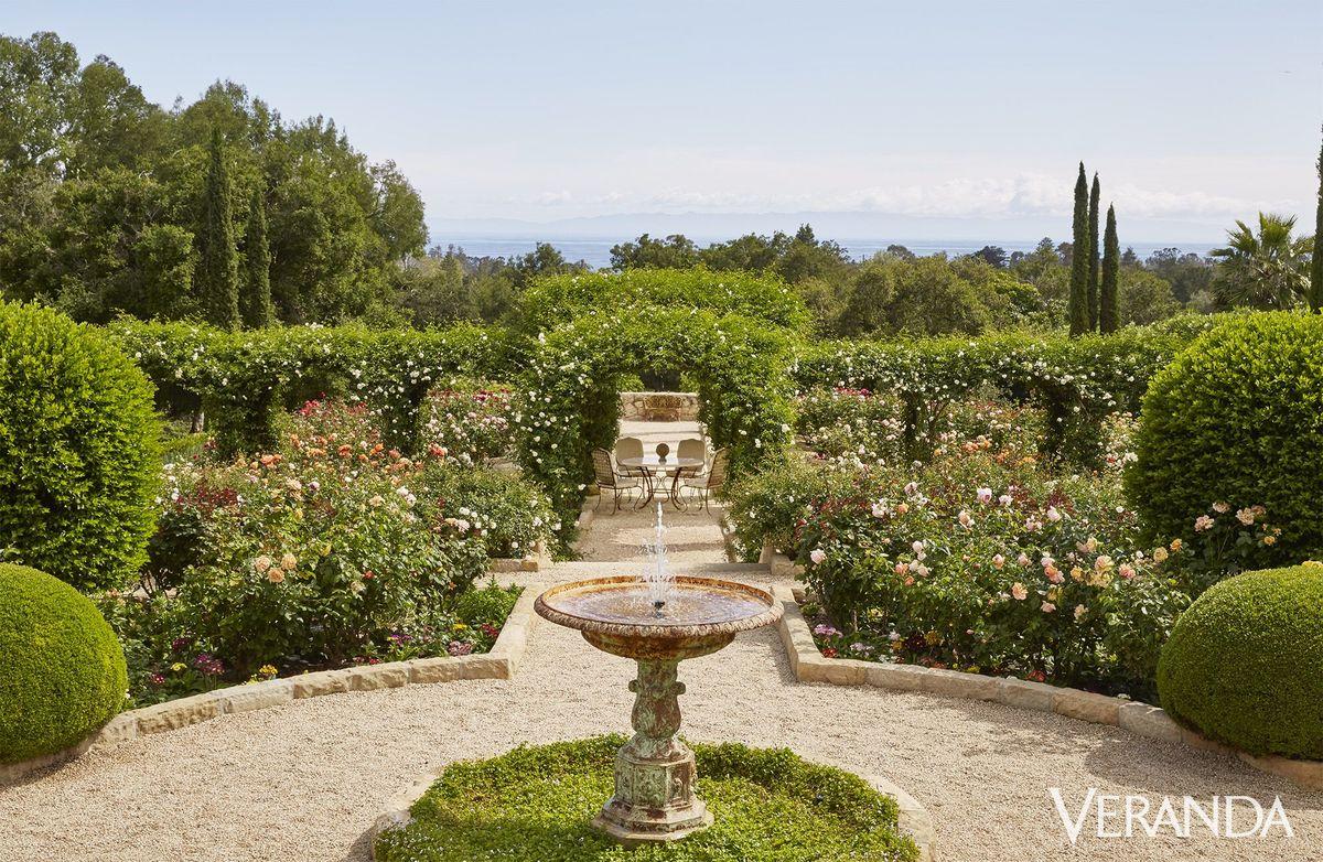A view of the ocean is seen at Oprah's Montecito garden.