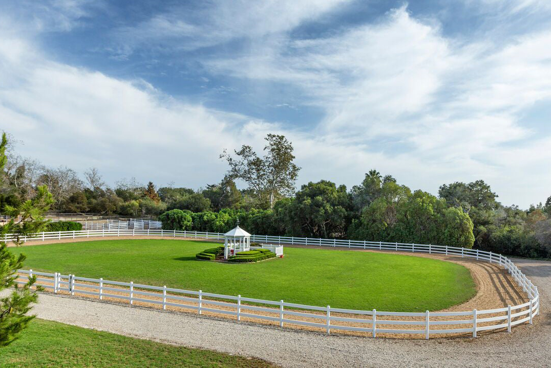 An equestrian race track is on Oprah's Montecito property.