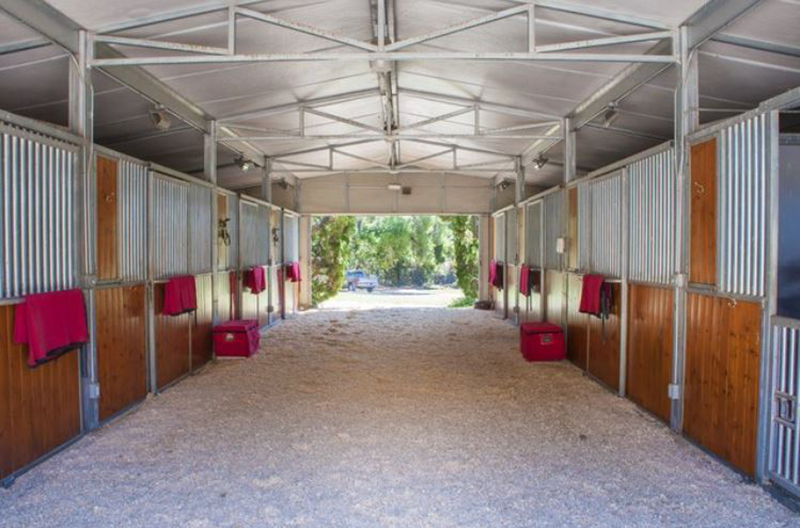 Horse stalls are in a barn on Oprah's Montecito property.