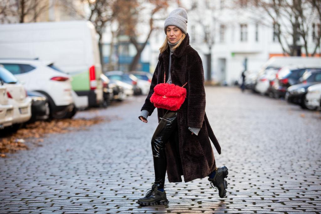 black Prada shoes, Worst Behavior varnish pants, red Chanel bag, brown Edited coat, grey Falke turtleneck Zara beanie