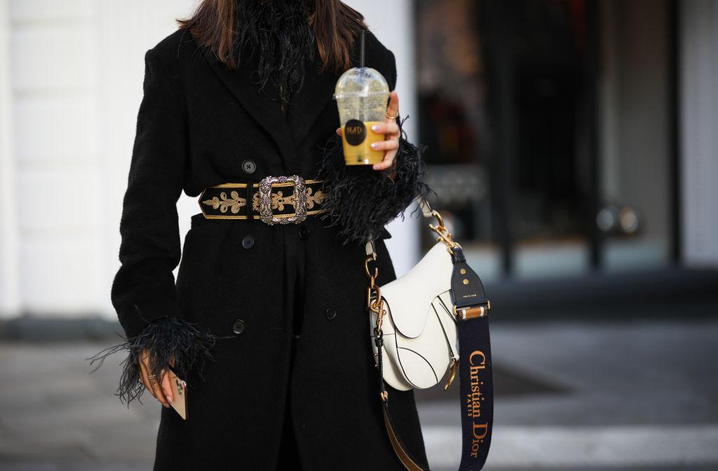 Milena Karl wearing Dior saddle bag, Etro belt, LeGer coat, Topshop vinyl pants, Celine sunglasses and Zara shirt