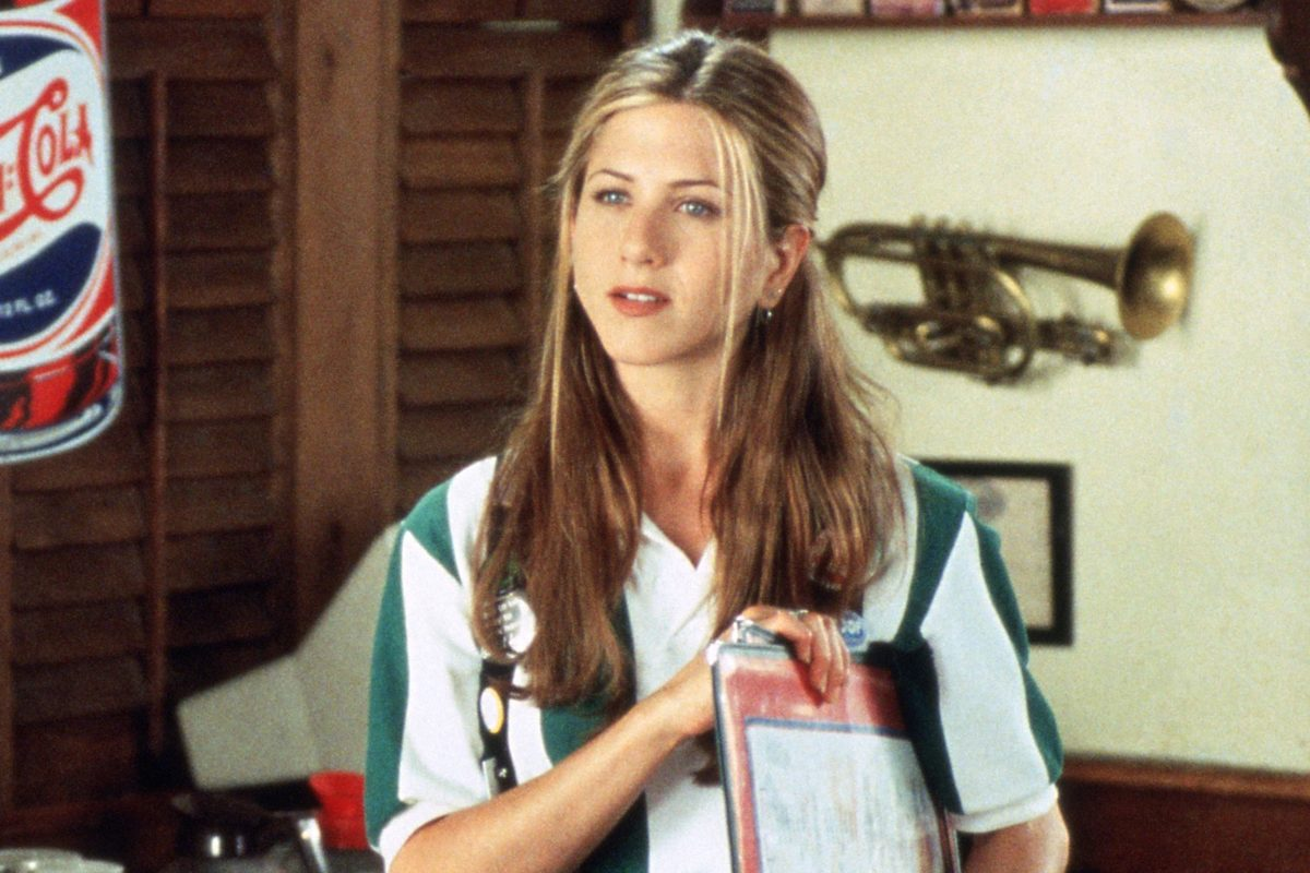Jennifer Aniston gives a blank stare while waitressing in the movie Office Space.
