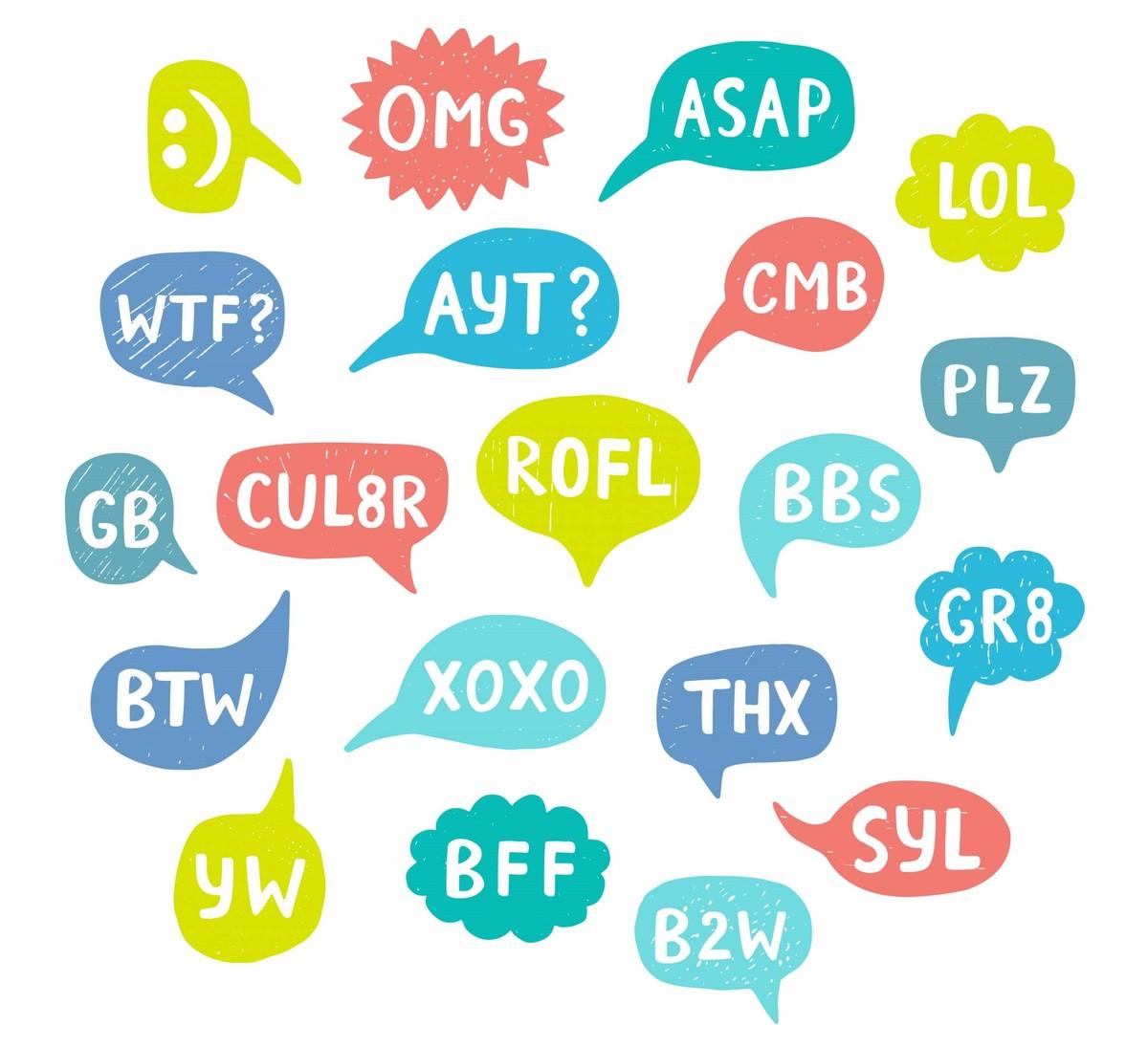 An image shows various texting abbreviations.