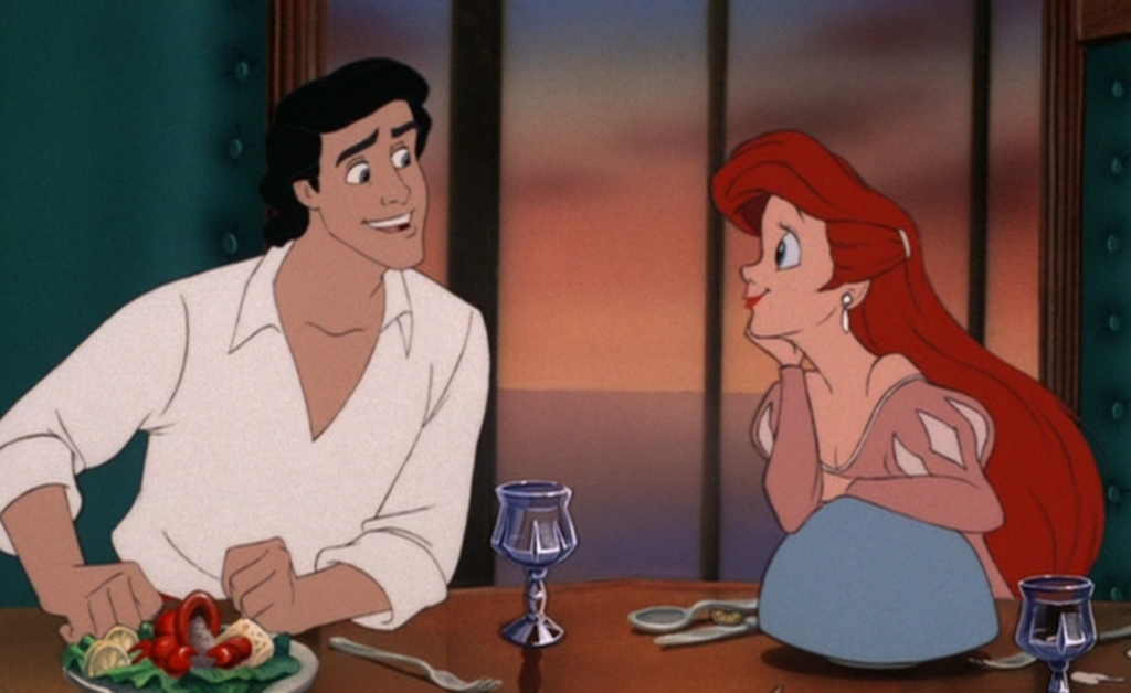 Ariel and Eric eating dinner
