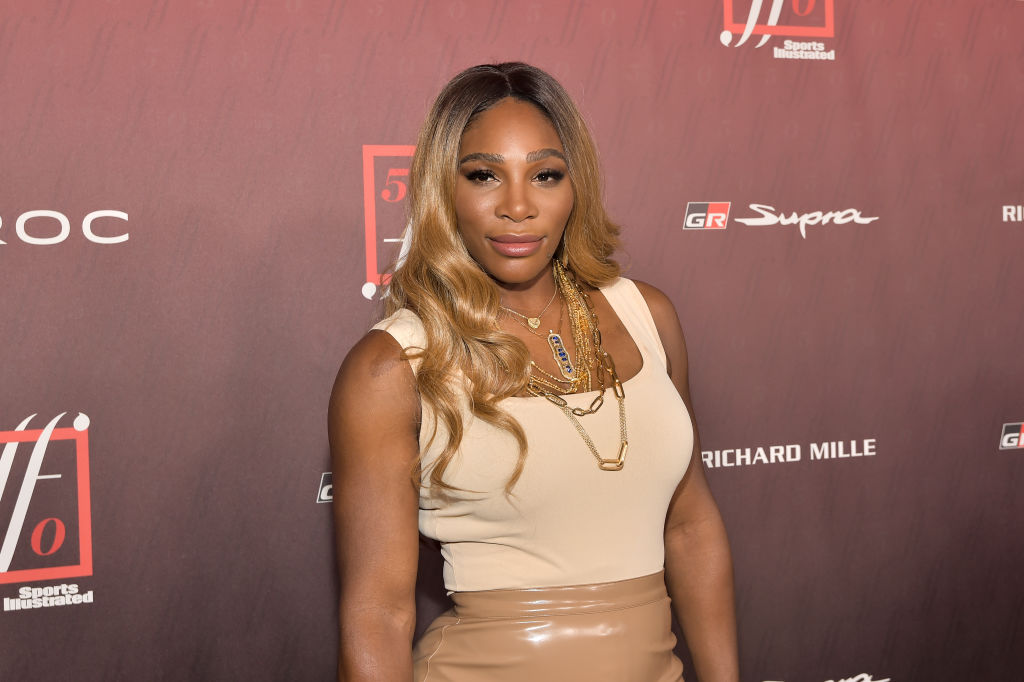 Serena wears a beige outfit to a Sports Illustrated event.