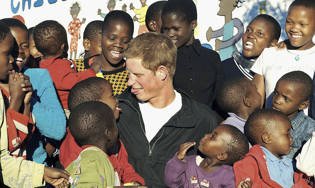 Harry with children