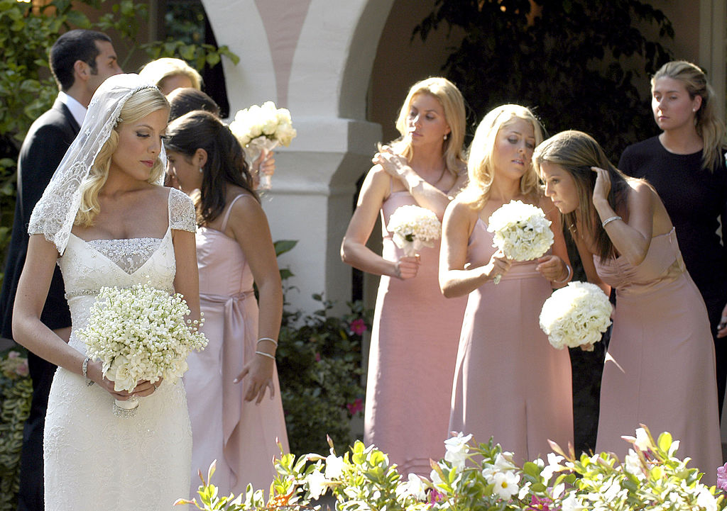 Tori Spelling spent the hours prior to her wedding with her bridesmaids at the Bel Air Hotel