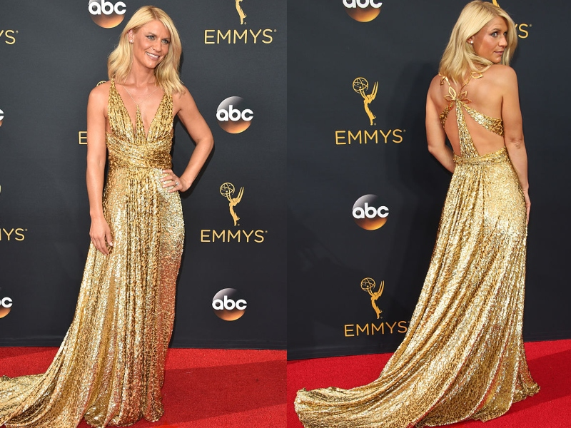 Claire Danes wears a shimmering, gold gown.
